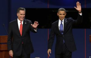 http://commons.wikimedia.org/wiki/File:Romney_and_Obama.jpg