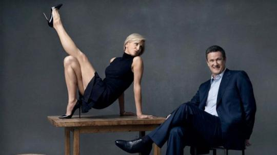 Mika Brzezinski posing with Morning Joe co-host Joe Scarborough.